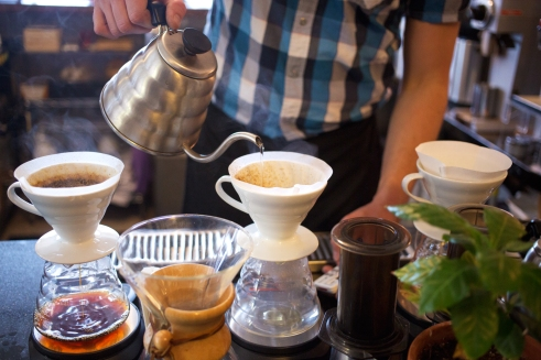Lantern offers pour over coffee, along with others such as Chemex and Aeropress, both can be seen in the foreground. Photo by Matt Radick